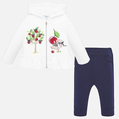 Комплект, Спортивний Кофта + сині штани, Білий, Mayoral Іспанія, 20VL