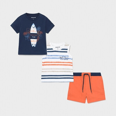 Комплект, Футболка + майка в смугу + помаранчеві шорти, Синій, Mayoral Іспанія, 21VL
