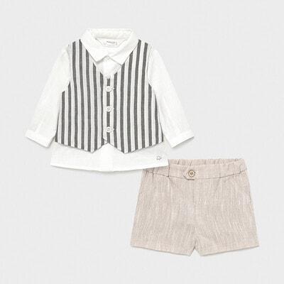 Комплект, Сорочка + бежеві шорти, Білий, Mayoral Іспанія, 21VL
