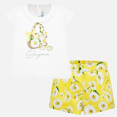 Комплект, Футболка біла + шорти в білих квітах, Жовтий, Mayoral Іспанія, 20VL