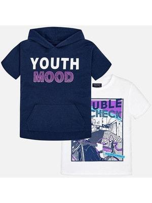Комплект, Футболка біла + футболка з капюшоном, Темно-синій, Mayoral Іспанія, 19VL