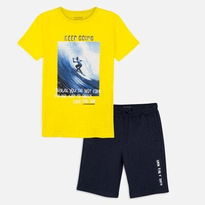 Комплект, Футболка + сині шорти, Жовтий, Mayoral Іспанія, 20VL