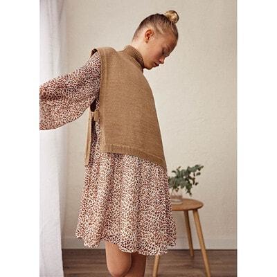 Сукня, довгий рукав, в коричневу плямочку, Бежевий, Mayoral Іспанія, 22OZ