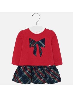 Сукня, довгий рукав (низ і бант в клітину), Червоний, Mayoral Іспанія, 20OZ