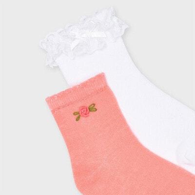 Шкарпетки, 2 шт. Білий, Кораловий, Mayoral Іспанія, 21VL