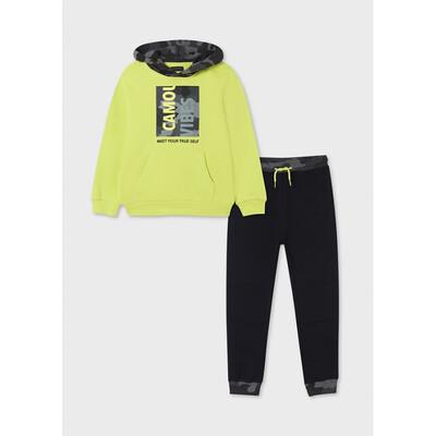 Комплект Спортивний, Пуловер + чорні штани, Зелений, Mayoral Іспанія, 22OZ