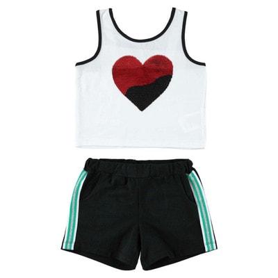 Комплект, Майка (зелене серце з паєток) + чорні шорти, Білий, iDO Італія, 19VL