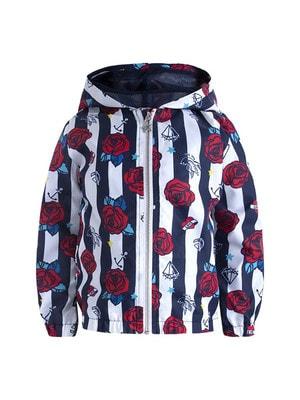 Куртка, в белую полосу, с капюшоном, (красные розы), Темно-синий, TucTuc Испания, 19VL