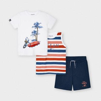 Комплект, Футболка + майка + сині шорти, Білий, Mayoral Іспанія, 21VL