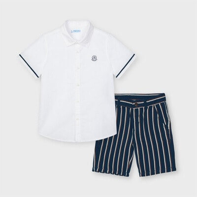 Комплект, Сорочка біла + шорти, Темно-синій, Mayoral Іспанія, 21VL