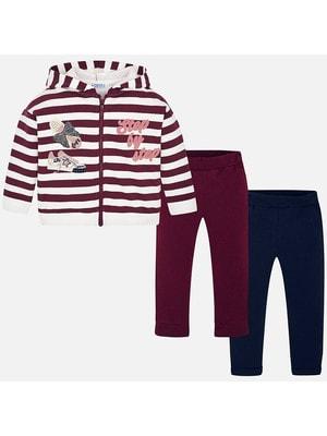 Комплект, Кофта в білу смугу + штани 2 шт. (1 сині), Бордовий, Mayoral Іспанія, 20OZ