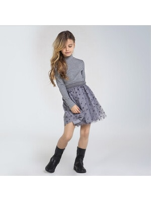 Сукня, довгий рукав, верх з блиском, низ в зірочках, Сірий, Mayoral Іспанія, 21OZ