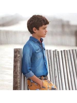 ОДЯГ Хлопчик Сорочка, джинсова, довгий рукав, Синій, Mayoral Іспанія, 19VL