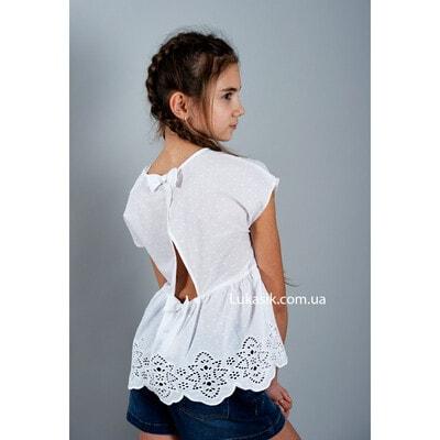 Блуза, короткий рукав (вибитий малюнок), Білий, Mayoral Іспанія, 20VL