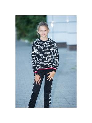 Комплект, Пуловер + штани (білі написи), Чорний, ТМ Colabear, 20OZ
