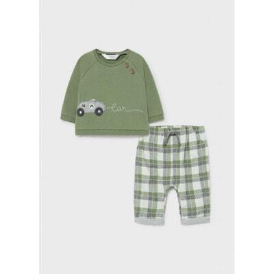Комплект, Пуловер + штани в клітину, Зелений, Mayoral Іспанія, 22OZ