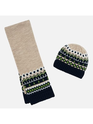 Головний убір Комплект, Шапка + шарф, Бежевий, Mayoral Іспанія, 20OZ