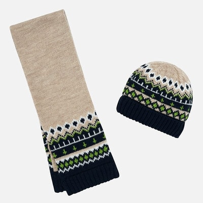 Головной убор Комплект, Шапка + шарф, Бежевый, Mayoral Испания, 20OZ