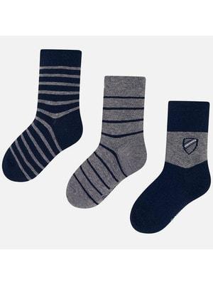 Шкарпетки, 3 пари (1 - сірі), Темно-синій, Mayoral Іспанія, 20OZ