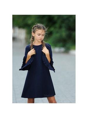 Шкільна форма, Сукня, довгий рукав з рюшем, Темно-синій, REMIX Польща, 19Ошкола