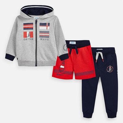 Комплект Спортивний, Кофта + сині штани + червоні шорти, Сірий, Mayoral Іспанія, 20VL