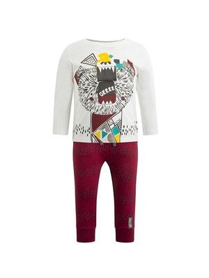 Комплект, Джемпер білий + штани, Бордовий, TucTuc Іспанія, 20OZ