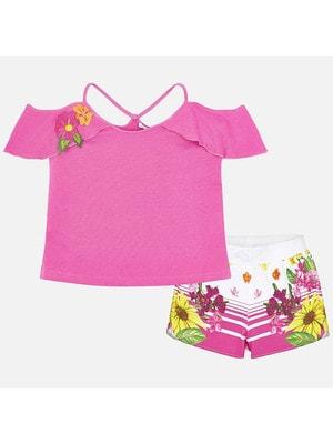 Комплект, Футболка +  шорти в квітвх, Рожевий, Mayoral Іспанія, 19VL
