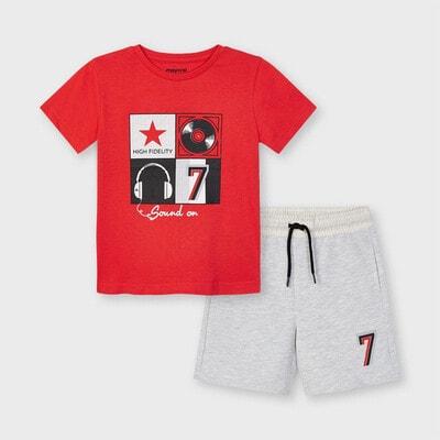 Комплект, Футболка + сірі шорти, Червоний, Mayoral Іспанія, 21VL