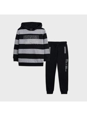 Комплект Спортивный, Пуловер в серую полосу + брюки, темно-синий, Mayoral Испания, 21OZ