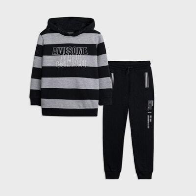 Комплект Спортивний, Пуловер в сіру смугу + штани, Темно-синій, Mayoral Іспанія, 21OZ