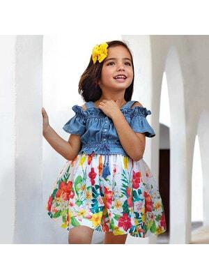 Сукня, верх джинсовий, низ білий в квітах, Синій, Mayoral Іспанія, 20VL