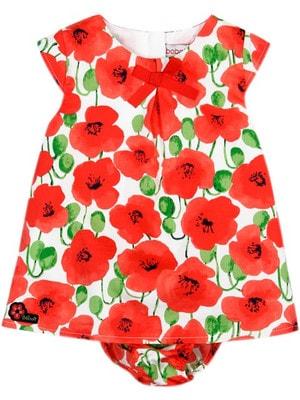 Сукня, + труси, в червоних квітах, Білий, BOBOLI Іспанія, 19VL