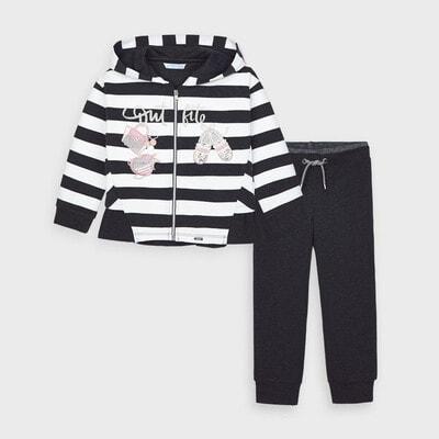 Комплект, Спортивний Кофта в білу смугу + штани, Темно-сірий, Mayoral Іспанія, 21OZ
