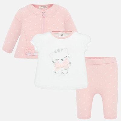 Комплект, Кофта + футболка біла + штани, Рожевий, Mayoral Іспанія, 20VL
