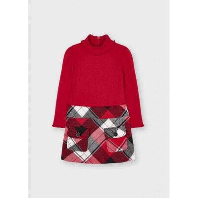 Сукня, довгий рукав, низ в клітину, Червоний, Mayoral Іспанія, 22OZ