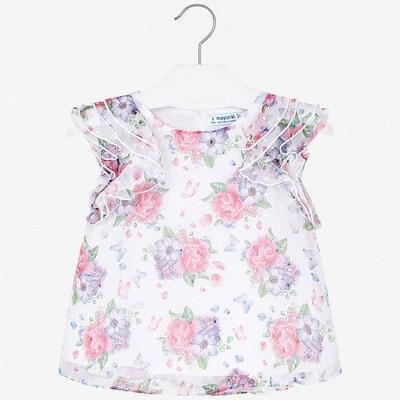 Блуза, в рожевих та бузкових квітах, Білий, Mayoral Іспанія, 20VL