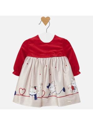 Сукня, довгий рукав (низ бежевий), Червоний, Mayoral Іспанія, 20OZ