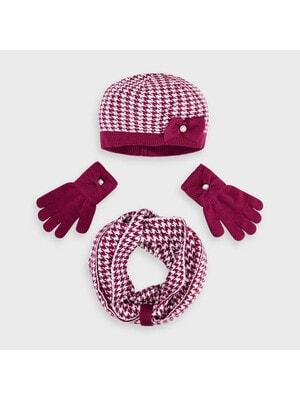 Головний убір Комплект, Шапка + шарф + рукавички (біла абстракція), Бордовий, Mayoral Іспанія, 21OZ