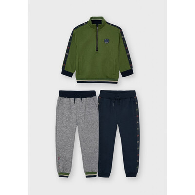 Комплект Спортивний, Пуловер + штани 2 шт., утеплений, Зелений, Mayoral Іспанія, 22OZ