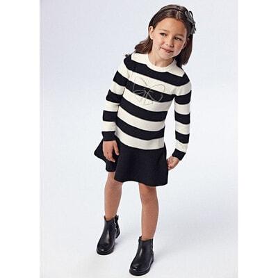 Сукня, довгий рукав, в білу смугу, Чорний, Mayoral Іспанія, 22OZ
