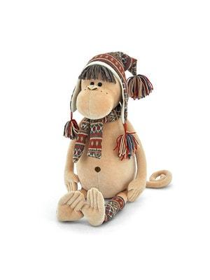 Игрушка Мягкая, Обезьянка в альпийской шапке и шарфике 55 см., ORANGE Китай
