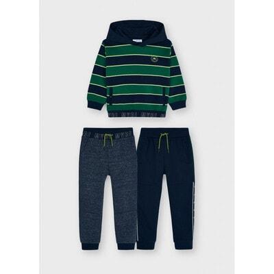 Комплект Спортивний, Пуловер в зелену смугу + штани  2 шт., утеплений, Темно-синій, Mayoral Іспанія, 22OZ