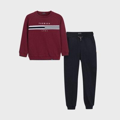 Комплект Спортивний, Пуловер + темно-сині штани, Бордовий, Mayoral Іспанія, 21OZ