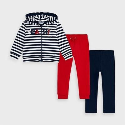 Комплект, Спортивний Кофта в білу смугу + штани 2 шт. (1-червоні), Темно-синій, Mayoral Іспанія, 21OZ