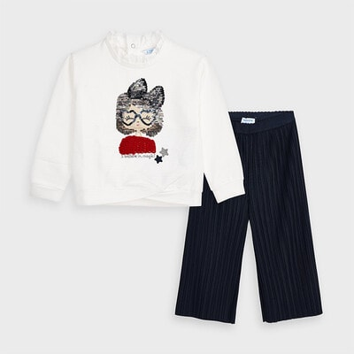 Комплект, Пуловер білий + кюлоти, Темно-синіій, Mayoral Іспанія, 21OZ