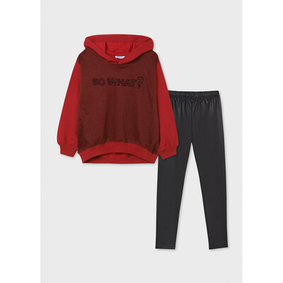 Комплект, Пуловер + чорні штани, Червоний, Mayoral Іспанія, 22OZ