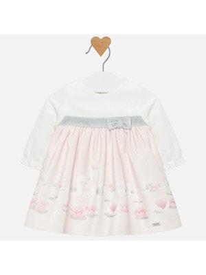 Сукня, довгий рукав (низ рожевий), Білий, Mayoral Іспанія, 20OZ