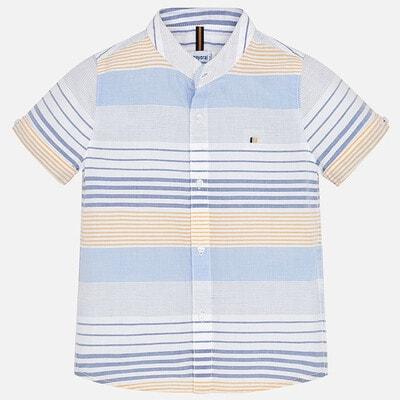 Сорочка, короткий рукав, в синю, жовту смуги, Білий, Mayoral Іспанія, 20VL