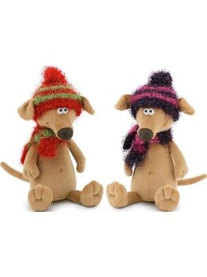 Игрушка Мягкая, Собака-Чуча, шарфик и шапочка вяз., Красная с зеленым / фиолетовая с розовым. 42см, ORANGE Китай