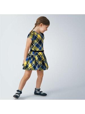 Сукня, в жовту клітину, короткий рукав, Синій, Mayoral Іспанія, 21OZ